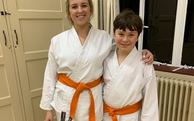 New karate student: Emily's first grading